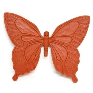 Vintage Syroco Burnt Orange Butterfly Wall Plaque